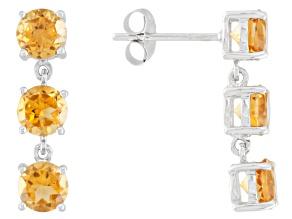 Pre-Owned Yellow Brazilian Citrine 14k White Gold 3-Stone Earrings 2.19ctw.