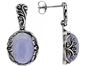 Pre-Owned Blue chalcedony sterling silver earrings