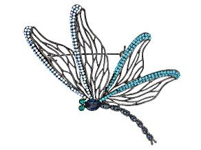 Pre-Owned Multicolor Swarovski Elements ™ Gunmetal Tone Dragonfly Brooch