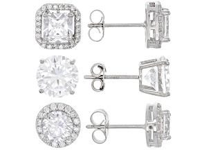 Pre-Owned white cubic zirconia rhodium over sterling silver earrings set 14.52ctw