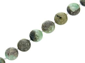 "Pre-Owned Brazilian Light Sugar Cane Emerald in Gray Matrix Appx 12mm Round Bead Strand appx 17-18"""