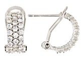 Pre-Owned White Cubic Zirconia 18K Yellow, Rose Gold & Rhodium Over Silver Huggie Earrings 5.67ctw