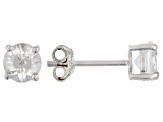 Pre-Owned  White Zircon Rhodium Over Silver Stud Earrings 1.40ctw