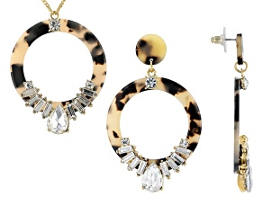 Pre-Owned  White Crystal Gold Tone Tortoise Necklace and Earring Set
