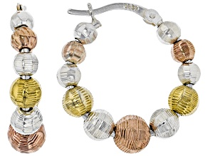 Pre-Owned Sterling Silver & 18K Rose & Yellow Gold Over Sterling Silver Bead Hoop Earrings
