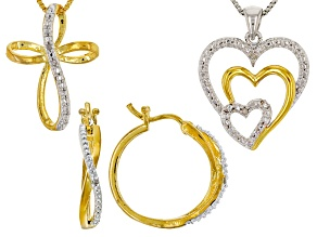 Pre-Owned White Diamond 14k Yellow Gold And Rhodium Over Brass Jewelry Set Diamond Accent