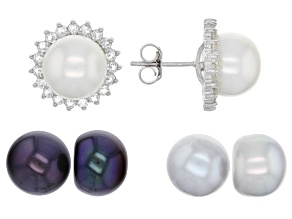 Pre-Owned 11mm Multi-Color Cultured Freshwater Pearl & Topaz Rhodium Over Silver Earrings Set With J