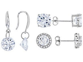 Pre-Owned White Cubic Zirconia Rhodium Over Sterling Silver Earrings Set 12.94ctw