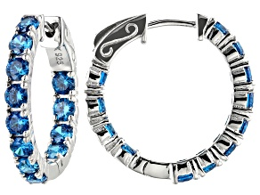 Pre-Owned Blue Cubic Zirconia Rhodium Over Sterling Silver Hoop Earrings 2.38ctw