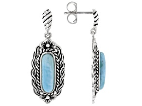 Pre-Owned Fancy Cut Cabochon Larimar Sterling Silver Earrings