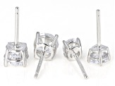Pre-Owned White Cubic Zirconia Rhodium Over Sterling Silver Center Design Earrings Set Of 2 4.75ctw