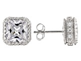 Pre-Owned White Cubic Zirconia Rhodium Over Sterling Silver Earrings 8.83ctw