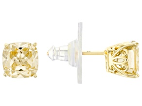 Pre-Owned Canary Cubic Ziconia 18K Yellow Gold Over Sterling Silver Stud Earrings 5.04ctw