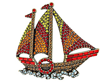 Picture of Pre-Owned Multicolor Crystal Antiqued Gold Tone Sailboat Brooch