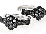 Pre-Owned Black spinel rhodium over silver earrings 3.12ctw