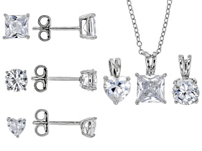 Pre-Owned White Cubic Zirconia Rhodium Over Silver Earrings and Pendants With Chain Set or 3 9.58ctw