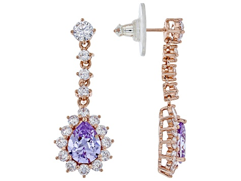 Pre-Owned Purple And White Cubic Zirconia Platineve ™ Over Sterling Silver Earrings 9.22CTW