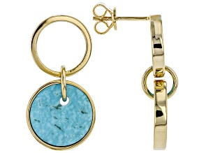Pre-Owned Turquoise Kingman 18K Yellow Gold Over Silver Earrings