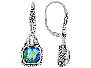 Pre-Owned Multicolor Rainbow Peridot Triplet Silver Earrings