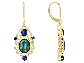 Pre-Owned Green malachite 18k yellow gold over silver earrings