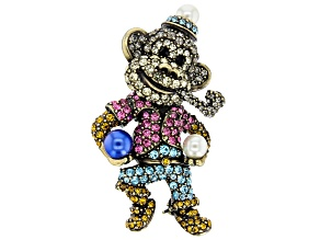 Pre-Owned  Multicolor Crystal Antiqued Gold Tone Circus Monkey Brooch