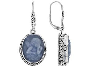 Pre-Owned Blue Angelite Silver Earrings
