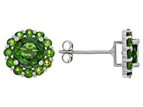 Pre-Owned Chrome Diopside Rhodium Over Silver Stud Earrings 2.68ctw