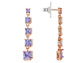 Pre-Owned Lavender & White Cubic Zirconia 18k Rose Gold Over Sterling Silver Earrings 7.22ctw