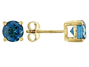 Pre-Owned London blue topaz 18k yellow gold over sterling silver stud earrings 1.61ctw