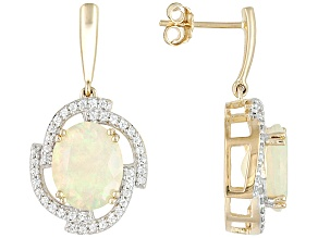Pre-Owned Multi Color Ethiopian Opal 10k Yellow Gold Earrings 3.04ctw.