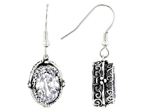 Pre-Owned White Cubic Zirconia Rhodium Over Sterling Silver Center Design Earrings 9.67CTW