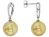 Pre-Owned Cultured South Sea Pearl Sterling Silver Earrings 12-13mm