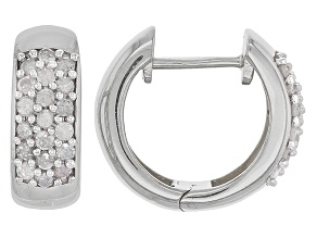 Pre-Owned White Diamond Rhodium Over Sterling Silver Earrings .45ctw