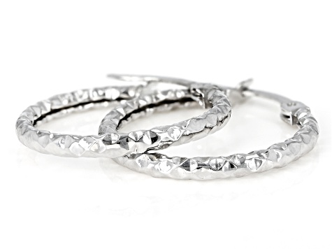 Pre-Owned 10K White Gold 16MM Diamond Cut Hammered Hoop Earrings