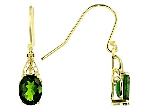 Pre-Owned Green Chrome Diopside 18k Gold Over Silver Earrings 2.50ctw