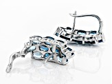 Pre-Owned London Blue Topaz Rhodium Over Sterling Silver Earrings 11.45ctw