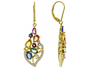 Pre-Owned Mixed-color sapphire 18k gold over silver earrings 5.38ctw