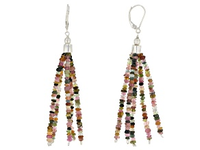 Pre-Owned Multi-Color Tourmaline Sterling Silver Earrings