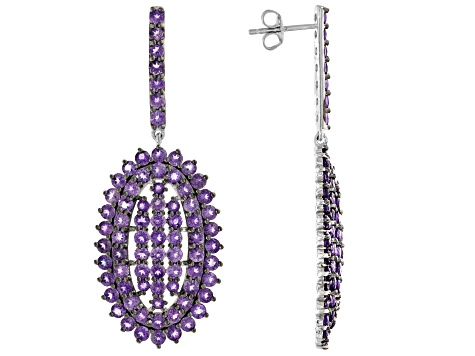 Pre-Owned Purple African amethyst rhodium over sterling silver dangle earrings 8.75ctw
