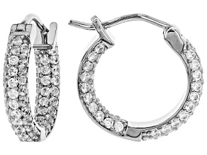 Pre-Owned White zircon rhodium over silver hoop earrings 2.38ctw