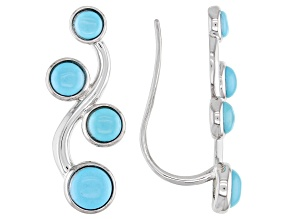 Pre-Owned Blue Sleeping Beauty Turquoise Sterling Silver Climber Earrings