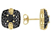 Pre-Owned Black spinel 18k yellow gold over silver earrings 2.63ctw