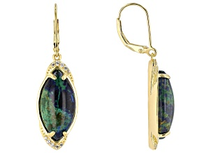 Pre-Owned Blue azurmalachite 18k yellow gold over silver earrings .23ctw