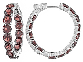 Pre-Owned Red Garnet Sterling Silver Hoop Earrings 17.37ctw