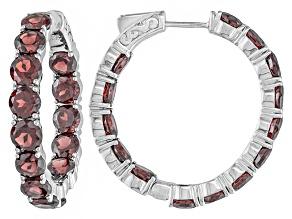 Pre-Owned Red Garnet Sterling Silver Hoop Earrings 17.37ctw