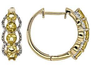 Pre-Owned Yellow Beryl 18k Gold Over Silver Hoop Earrings 1.73ctw