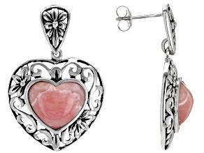 Pre-Owned Pink rhodochrosite sterling silver earrings