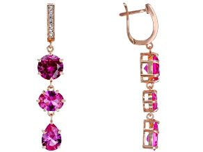 Pre-Owned Pink lab created sapphire 18k rose gold over silver earrings 12.80ctw