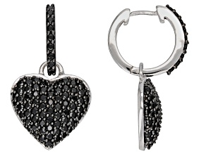 Pre-Owned Black spinel rhodium over silver earrings 2.45ctw