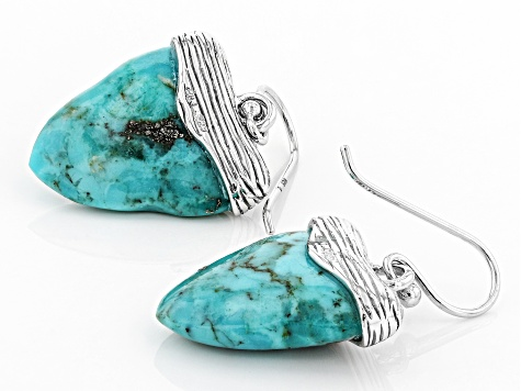 Pre-Owned Turquoise Rhodium Over Silver Earrings